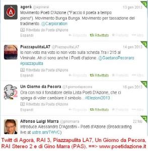 Twitt sui Poeti d'Azione da parte della RAI, de' LA7 e dell'avvocato Marra.
