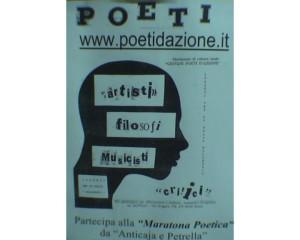Locandina Poeti d'Azione realizzato con un collage di giornali