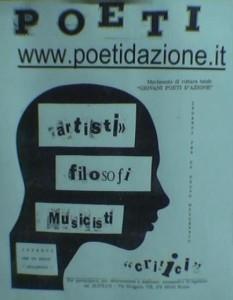 Locandina Poeti d'Azione realizzata con un collage di giornali