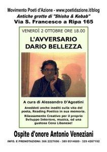 Locandina Ufficiale de' L'Avversario Dario Bellezza, evento con Antonio Veneziani, Alessandro D'Agostini