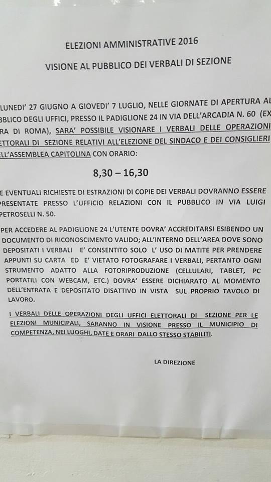 Avviso Ufficio Elettorale Centrale di Roma Via Petroselli. Dati Elettorali 2016