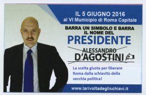 Alessandro D'Agostini biglietto elettorale